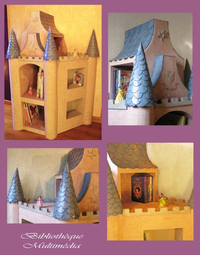 cr ation biblioth que ch teau de princesse en carton cr ation meuble en carton de lydia9705 n. Black Bedroom Furniture Sets. Home Design Ideas