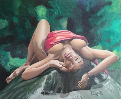 beaux arts peinture galerie creations sur toile cascade aux ecrevisses laeticia