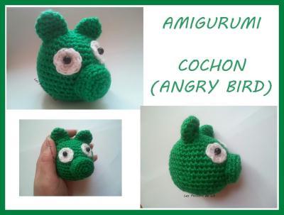 Cr ation amigurumi cochon vert angry bird cr ation - Cochon angry bird ...