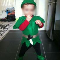 Création costume de Peter Pan pour petit garçon.
