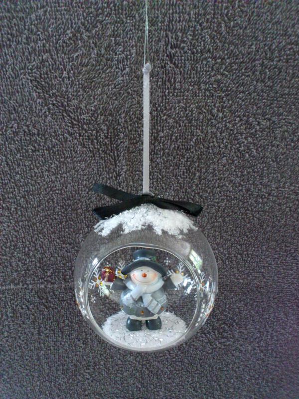 cr ation boule de noel en verre ouverte avec bonhomme de neige cr ations d coration de f tes. Black Bedroom Furniture Sets. Home Design Ideas