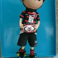 Création poupée fofuchos rugbyman stade toulousain