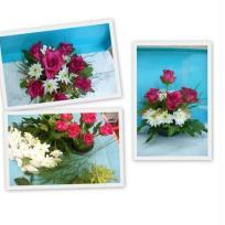 Création composition florale rouge et blanche