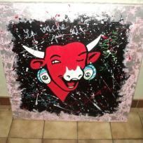 Création toile ambiance vache qui rit