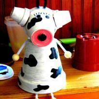 Création vache en pot de fleur