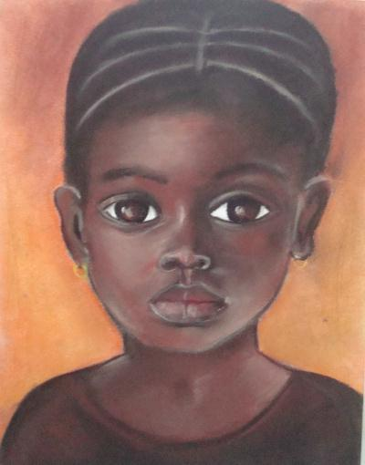 Portrait d 39 une jeune fille africaine cr ation beaux arts - Dessin de jeune fille ...