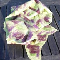 Création écharpe en laine mérinos et soie