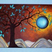 Création d'un tableau soleil turquoise structuré et arbre noir