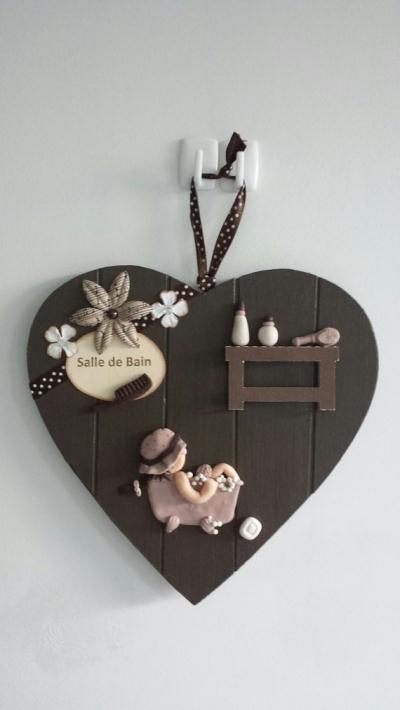 cr ation d 39 une plaque de porte de salle de bain en fimo et scrapbooking cr ation home d co et. Black Bedroom Furniture Sets. Home Design Ideas
