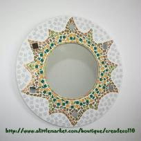 Création miroir soleil en mosaique 38 cm fait main