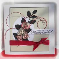 Création d'une carte d'anniversaire - Roses en papier