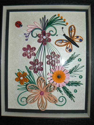 cr ation tableau printanier avec papillon orange cr ation quilling de suzanne493 n 53 422 vue. Black Bedroom Furniture Sets. Home Design Ideas