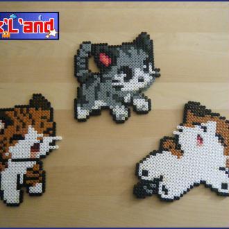 Création en perles Hama Midi : 3 chaton Chibi