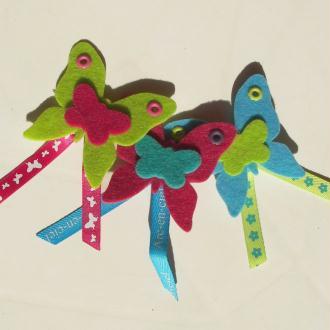 3 broches papillon en feutrine