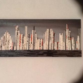 Création de tableaux uniques faits de collage de journaux ou magazines sur une toile