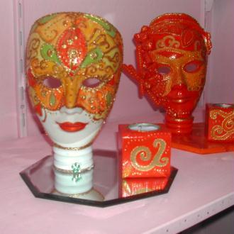 Création Bougeoir Masque Venise décoratif