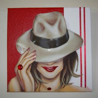Création tableau Femme au chapeau - 3D