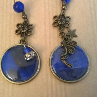 Création Boucles d'oreilles bleues Cabochon en bronze
