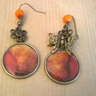 Création Boucles d'oreilles oranges Cabochon en bronze