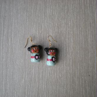 Création Boucles d'oreille Kokeshi - Pâte Fimo