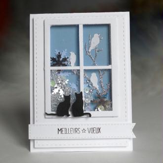 Création carte de voeux - Chats à la fenêtre