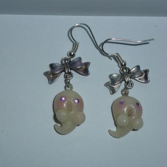 Création Boucles d'oreilles Mignons fantômes en pâte fimo