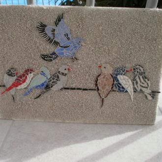 Création Tableau groupe d'oiseaux sur fil