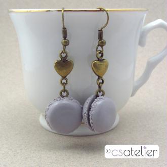 Création Boucles d'oreilles Macarons cassis