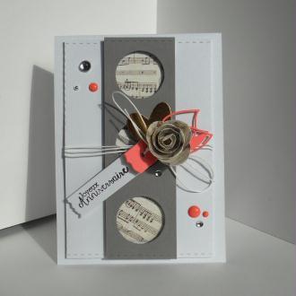 Création d'une Carte d'anniversaire - Musique et rose