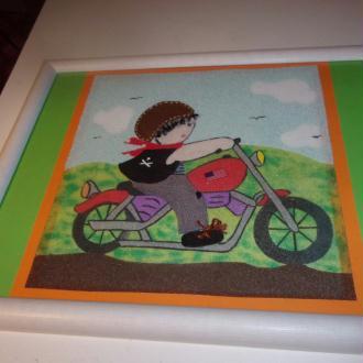 Création Tableau en sable coloré Motard