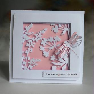 Création carte d'anniversaire - Fleurs champêtres en rose et blanc