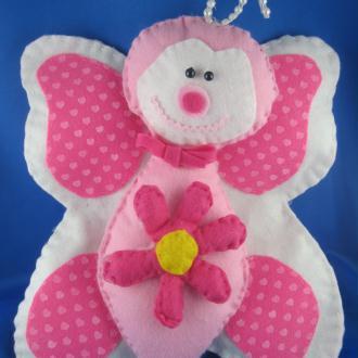 Création Maya le papillon en feutrine de pois rose