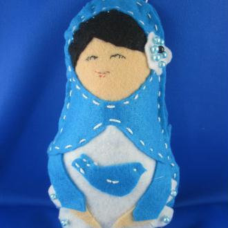 Créaiton poupée russe en feutrine bleue