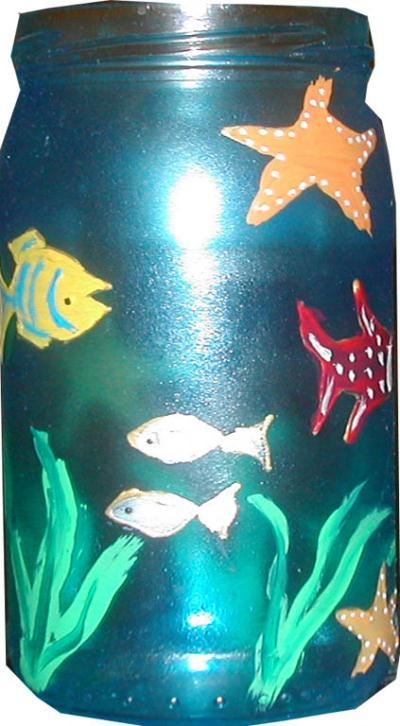 bocal poisson cr ation peinture sur porcelaine et verre. Black Bedroom Furniture Sets. Home Design Ideas