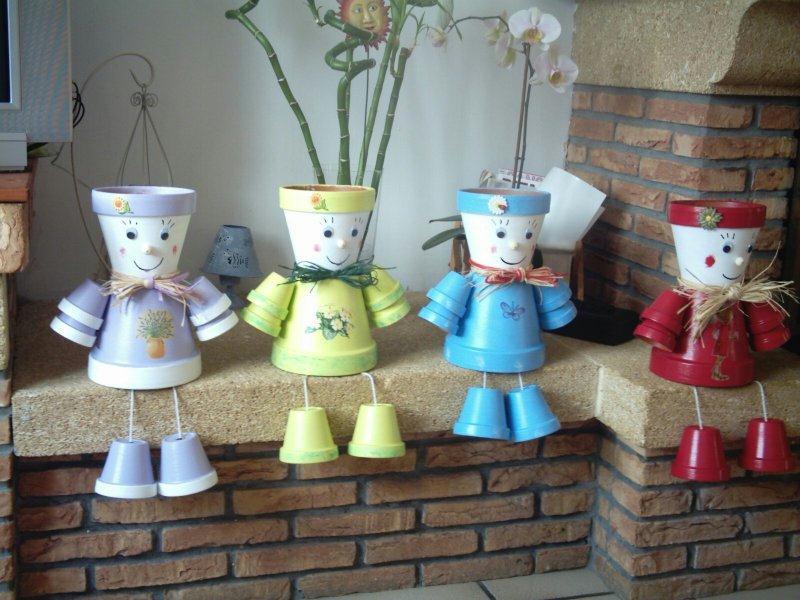 Bonhomnes en pot de fleurs cr ations personnage en pot de nical n 9753 vue 41864 fois - Comment faire des personnages en pots de terre cuite ...